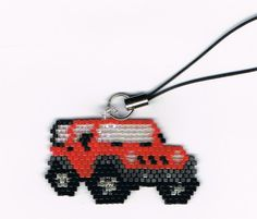 Hand Beaded Red Jeep cell phone charm by beadfairy1 on Etsy, $8.95