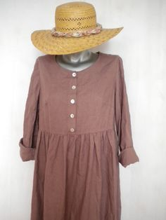 linen dress hand dyed dusty grape gathered by EcoFriendlyForU, $58.96