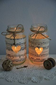 Vintage Sheet Music Glass Jars wedding decor , how cute . For similar wedding and home furnishings , visit www.melodymaison.co.uk