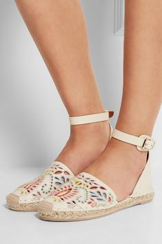 ValentinoEmbroidered leather espadrilles