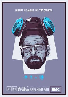 """BREAKING BAD After watching season 4 of one of the best show ever on TV, the awesome """"Breaking Bad"""", i just got so excited and wanted to design something about it. I came up with this print of Walter White, the most famous science teacher/drug dealer! Walter White, Breaking Bad Arte, Beaking Bad, 90s Art, Fanart, Cultura Pop, Best Tv Shows, Illustrations, Movies Showing"""