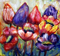 Tulips and Poppies Purple Tulips, Tulips Flowers, Red Poppies, Colorful Flowers, Spring Flowers, Large Painting, Texture Painting, Art Floral, Original Art