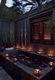 Tropical Open Air Bath Oasis  [ MexicanConnexionforTile.com ] #bathroom…