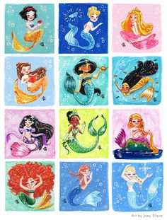 "joeyellson: "" All of the Disney Princesses as mermaids. I made myself busy thanks to #MerMay :)))) """
