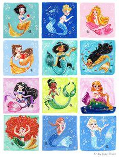 "joeyellson: "" All of the Disney Princesses as mermaids. I made myself busy thanks to #MerMay :)))) """