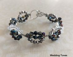 Handmade bracelet with black, clear white and silver crystals and wire Black Crystals, Handmade Bracelets, Handmade Silver, Wire, Jewelry, Jewlery, Jewerly, Schmuck, Jewels