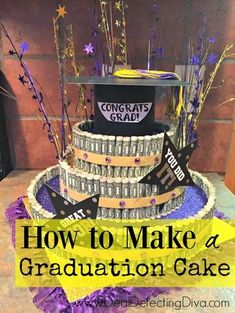 I've been watching the progress of my friend Amber's Graduation Cakes this week. She has KILLED it, and I know that any graduate would love for this to be the centerpiece at their graduation party. What I love most about this? Apart from the $1 bills you roll up for the outside, many of the … Graduation Party Centerpieces, Graduation Party Planning, High School Graduation Gifts, Graduation Decorations, Graduation Party Decor, Grad Gifts, Graduation Cards, Grad Parties, Graduation Ideas