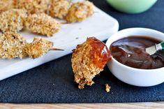 crispy chicken skewers w/homemade honey bbq sauce (pinning for the sauce)