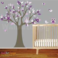 Cute whimsical nursery vinyl decal flower tree set.Great addition to any nursery,playroom,kids room for girl or boy.    SIZE  Tree 74h x 54w