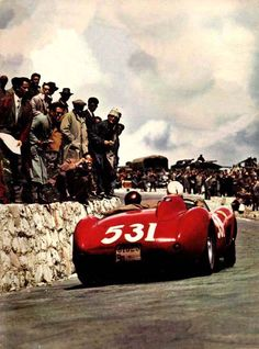 Alfonso De Portago in his Ferrari at the 1957 Mille Miglia. This is the last known photo of Alfonso — soon after, his tyre exploded, launching the Ferrari into a crowd, killing Alfonso, his co-driver, and 10 spectators. This accident led to the banning of the Mille Miglia