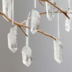 quartz crystal ornaments www.vivaterra.com $48