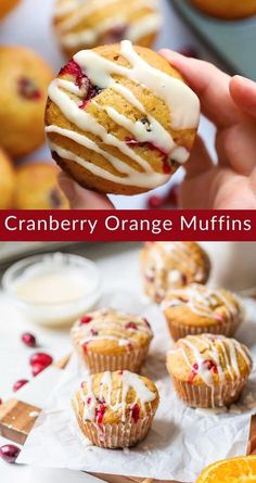 These healthy cranberry orange muffins with sweet orange glaze are moist, fluffy and brightly flavored. #wellplatedrecipes