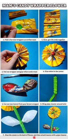 m&m's candy wrapper flower  (perfect centerpiece for Dad's retirement party!)