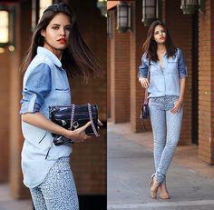Bella Dahl Block Denim Shirt, Guess? Leopard Skinny Jeans, Rebecca Minkoff Mini Mac