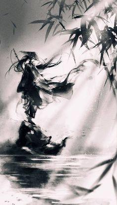Japanese Ink Painting, Japanese Artwork, Japanese Art Samurai, Chinese Painting, Painting Art, Arte Ninja, Ninja Art, Dark Fantasy Art, Fantasy Artwork