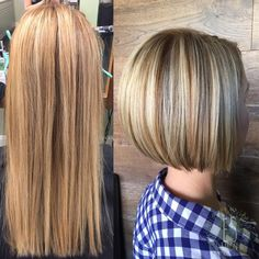 transformation from long flat blonde into dimensional fall blonde with lowlights on an angled bob