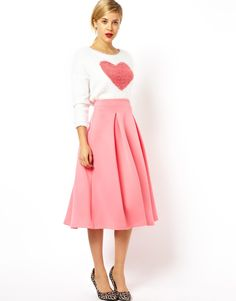Midi Skirt To Be The Reason For You To Have A Woman's Compulsory : Midi Skirt Pink
