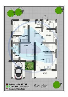1420 Square Feet Single Floor Contemporary Home Design 2bhk House Plan, Three Bedroom House Plan, Model House Plan, Duplex House Plans, Brick House Designs, House Roof Design, Bungalow House Design, Small House Design, North Facing House