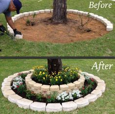 Brick Flower Bed Around Tree