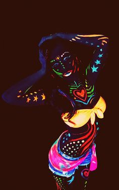 not as intense..but we NEED body paint that glows in the dark. PLUR ♡♡♡