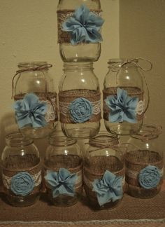 Set of 8 Mason Jar Sleeves, Rustic Wedding, Baby Boy Shower, Mason Jar Wedding, Shabby Chic, Wedding Decorations