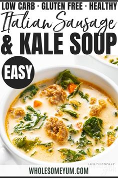 Italian Sausage Kale Soup Recipe - This hearty Italian sausage kale soup recipe is ready in just 30 minutes! Naturally keto kale soup is loaded with flavor, greens and a creamy broth. #wholesomeyum