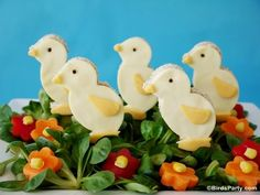 Easter Chick Brunch Salad Recipe - get kids in the kitchen cooking and eating vegetables with this cute dish for your  lunchbox or party table!