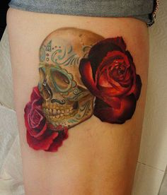 Sugar Skull and Roses tattoo, live the mustache touch:)