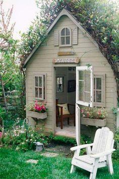 Shed Office, Backyard Office, Backyard Sheds, Outdoor Sheds, Backyard Retreat, Garden Sheds, Tiny Office, Diy Garden, Farmhouse Garden
