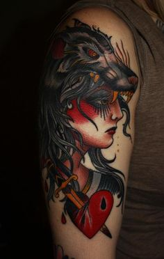 Traditional style girl with wolf mantle. I want I want I want