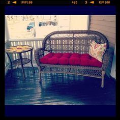 Pier 1 Outdoor Daisy Side Table and Santa Barbara Wicker Settee