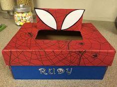 Spider man Valentine shoe box - Spiderman valentine box ideas
