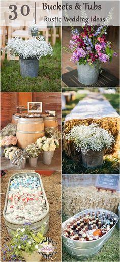 40 Ways to Use Buckets / Tubs for Your Wedding Decor / http://www.deerpearlflowers.com/rustic-buckets-tubs-wedding-ideas/