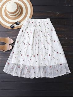 Embroidered Floral Pleated Tulle Skirt - OFF WHITE ONE SIZE