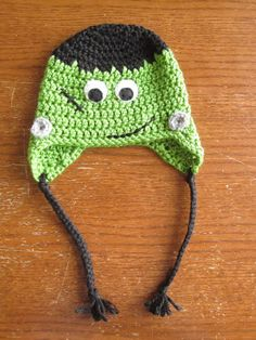 "Happy Halloween! In honor of the holiday I'm posting my last Halloween hat pattern.The ""Frankie"" Pattern:Materials Needed:I hook (5.5mm)Yarn needleScissorsYarn (black, green, & light gray)Felt ..."