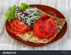 Grilled Tomato Seved Bread, Onion Rings, Herbs And Salad Leaves Стоковые фотографии 370691711 : Shutterstock
