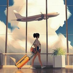Departure My next piece is finished! I ended up developing my cloud study and ended up with this. That plant took longer than you'd think! Anime Scenery Wallpaper, Anime Artwork, Cute Cartoon Wallpapers, Animes Wallpapers, Alone Art, Cartoon Kunst, Japon Illustration, Couple Illustration, Travel Illustration