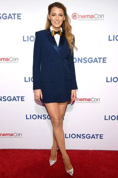 1a64deaeb0815c Blake Lively in a tuxedo mini dress and bow tie Velvet Suit