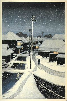 hanga gallery . . . torii gallery: Snow at Night in Terajima Village by Kawase Hasui