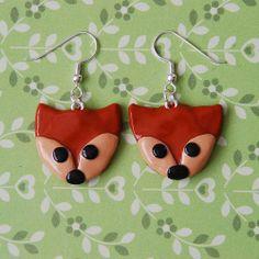 Fox Earrings. £7 + £1 P&P. (Handmade polymer clay jewellery from Little Screechy's Magical Corner)