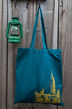 Tote bag Teal cotton Gold NYC Illustration by IledanDesignStudio, $12.00