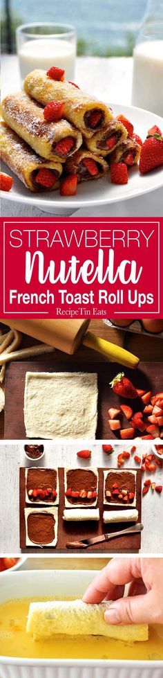 Strawberry Nutella French Toast Roll Ups - just a handful of ingredients to make these in 15 minutes. They taste like doughnuts! French Toast Roll Ups, Nutella French Toast, Cinnabon, Roll Ups Recipes, Recipetin Eats, Recipe Tin, Nutella Recipes, Köstliche Desserts, Snacks