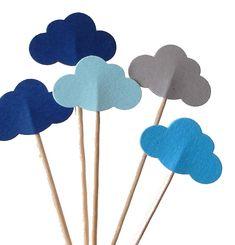 24 nuvola blu misto Party Picks Cupcake Toppers Food Picks