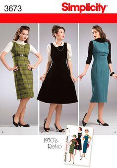 Womens 1950s Retro Dress or Jumper Pattern 3673 Simplicity