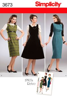 Womens 1950s Retro Dress or Jumper Pattern 3673 Simplicity
