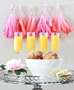 Fringe garland to decorate a Mimosa Brunch