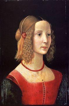yama-bato: Domenico Ghirlandaio (1449-1494)Portait Of A GirlTempera on wood1490 Beaded necklace