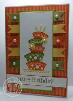 handmade birthday card from Stampin with Paula ... luv the olive, orange and mustard colors of the banners and topsy cake layers ... fun card!! ... Stampin' Up!