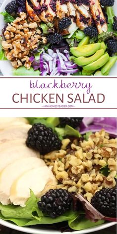 Blackberry Chicken Salad is a quick and easy healthy recipe for lunch and dinner! This recipe is full of fresh and juicy blackberries and drizzled over with a blackberry balsamic vinegar dressing. Save this easy healthy meal for family dinners! Quick Healthy Lunch, Healthy Meal Prep, Healthy Snacks, Healthy Eating, Heart Healthy Dinner, Quick Lunch Recipes, Clean Eating, Healthy Family Dinners, Healthy Meals For Families