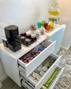 New home bar station storage ideas Coffee Station Kitchen, Coffee Bar Home, Home Coffee Stations, Coffee Corner, Apartment Bar, Kitchen Organisation, Organization Ideas, Storage Ideas, Open Plan Kitchen Living Room
